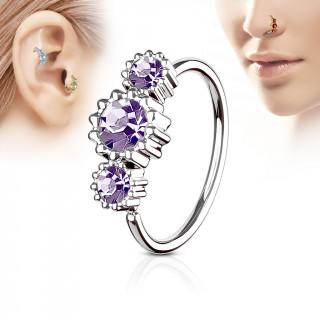 Piercing anneau nez / cartilage à trio de soleils à strass - Violet tanzanite