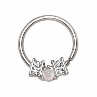 Piercing anneau orné serti (septum, cartilage...)