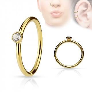 Piercing anneau ouvert doré en acier