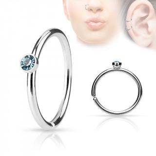 Piercing anneau ouvert en acier à cristal bleu