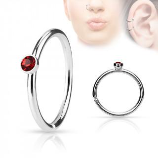 Piercing anneau ouvert en acier à cristal rouge