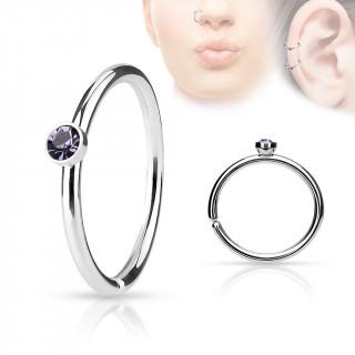 Piercing anneau ouvert en acier à cristal violet tanzanite