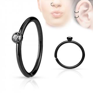 Piercing anneau ouvert noir en acier