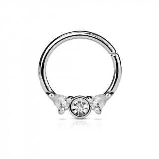Piercing anneau pliable à trio de strass (septum, oreille...)