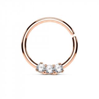 Piercing anneau pliable cuivré serti de 3 strass