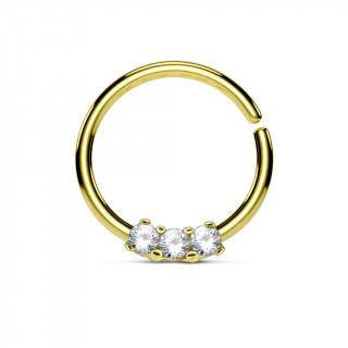 Piercing anneau pliable doré serti de 3 strass