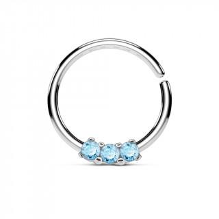 Piercing anneau pliable serti de 3 strass bleus