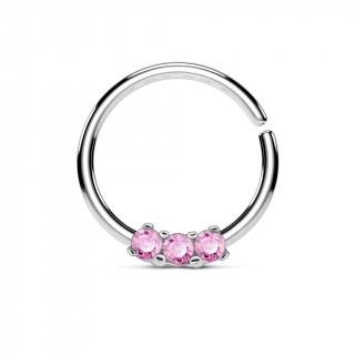 Piercing anneau pliable serti de 3 strass roses