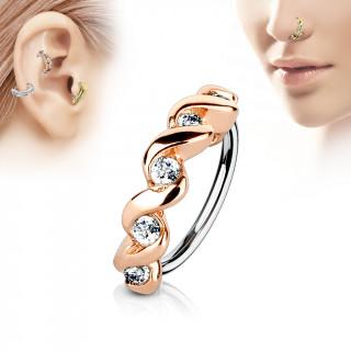 Piercing anneau à relief cuivré twisté serti (nez, cartilage)