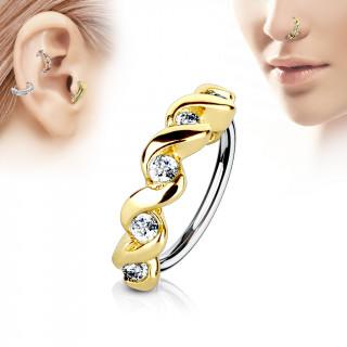 Piercing anneau à relief doré twisté serti (nez, cartilage)