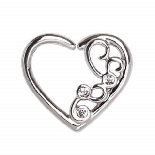 Piercing anneau tordable coeur ornemental sertie