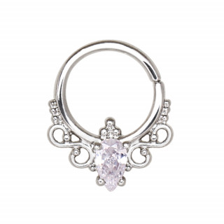 Piercing anneau tordable style royal serti