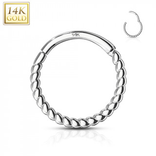 Piercing anneau torsadé à segment clips en or blanc 14 carats