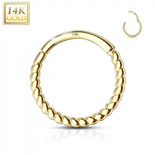 Piercing anneau torsadé à segment clips en or jaune 14 carats