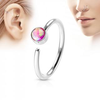 Piercing anneau tragus / nez acier à opale rose