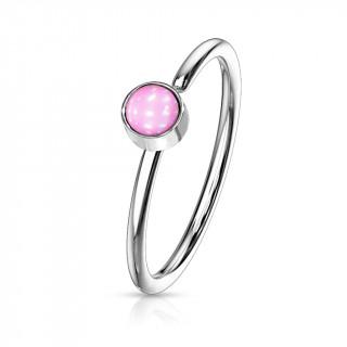Piercing anneau tragus / nez acier à epoxy - Rose