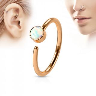 Piercing anneau tragus / nez cuivré à opale blanche