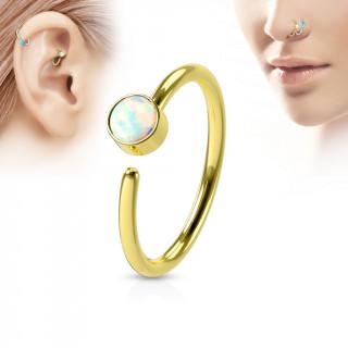 Piercing anneau tragus / nez doré à opale blanche