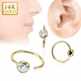 Piercing anneau tragus / nez en or 14 carats avec boule sertie d'un zirconium