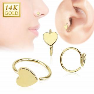 Piercing anneau tragus / nez en or 14 carats avec coeur