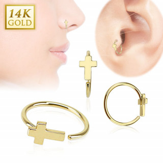 Piercing anneau tragus / nez en or 14 carats avec croix chrétienne
