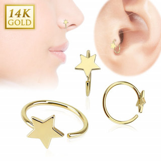 Piercing anneau tragus / nez en or 14 carats avec étoile