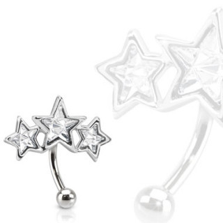 Piercing arcade avec trio d'étoiles serties