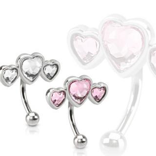 Piercing arcade avec trio de coeurs serties
