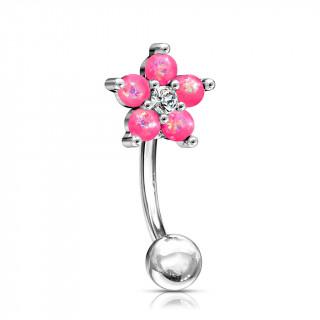 Piercing arcade à fleur d'opales roses