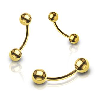 Piercing arcade plaqué or avec boules