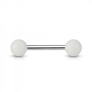 Piercing barbell à perles blanc mat