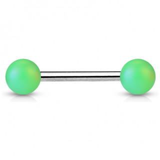 Piercing barbell à perles vert mat