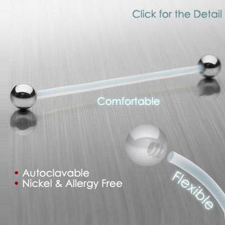 Piercing barbell à tige bioflex et boules en acier