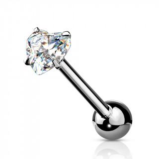 Piercing barbell acier à coeur zirconium griffé - Clair