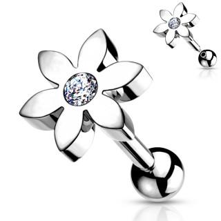Piercing barbell cartilage à fleur sertie - Gris argenté