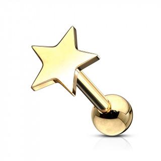 Piercing barbell cartilage à étoile - Doré (tragus, helix...)