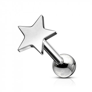 Piercing barbell cartilage à étoile - Inox (tragus, helix...)
