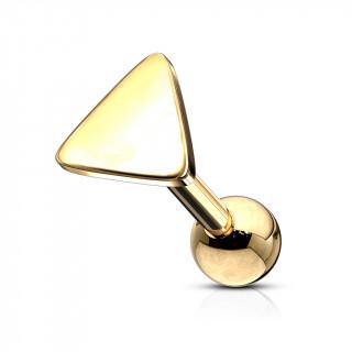 Piercing barbell cartilage à triangle - Doré (tragus, helix...)