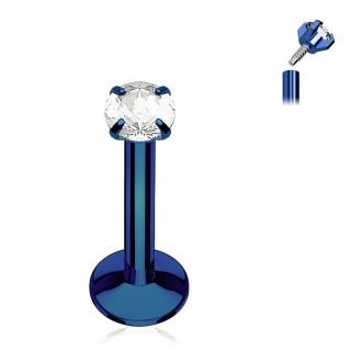 Piercing bleu à strass rond et filetage interne (lèvre, cartilage...)