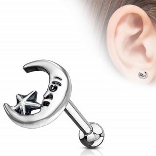 Piercing cartilage à lune étoilée style retro