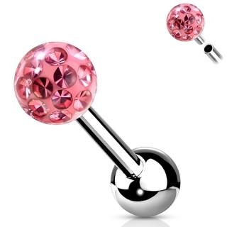 Piercing cartilage acier à boule férido (filetage interne) - Rose