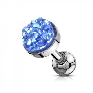 Piercing cartilage acier à druse ronde bleue
