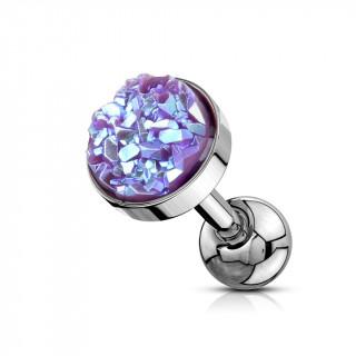 Piercing cartilage acier à druse ronde violette