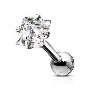 Piercing cartilage acier à Carré Zirconium