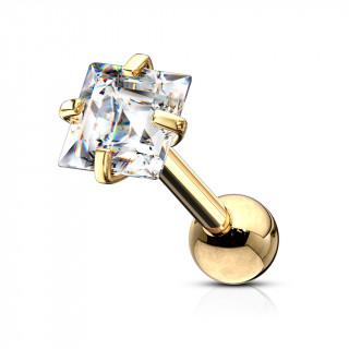 Piercing cartilage acier doré à Carré Zirconium
