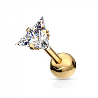 Piercing cartilage acier doré à Triangle Zirconium