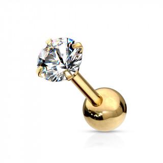 Piercing cartilage acier doré à Zirconium rond