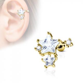 Piercing cartilage amas d'étoiles - Doré