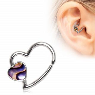 Piercing cartilage anneau à coeur d'abalone