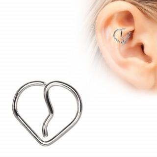 Piercing cartilage anneau coeur brisé